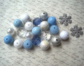 Blue Winter Necklace Kit, Gumball Bead Kit, Snowflake Necklace, Bubblegum Necklace Kit, Blue, Silver and White Beads, DIY Necklaces