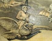 Rare John Winsch Halloween postcard, Schmucker design, Witch riding an Owl now on sale