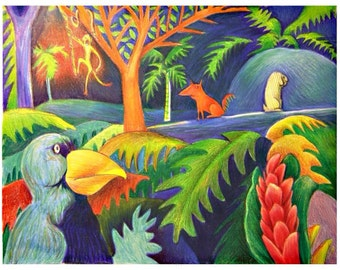 Tropical animals art print