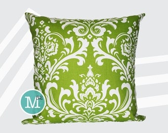 Chartreuse Green Damask Pillow Cover - 18 x 18, 20 x 20 and More Sizes - Zipper Closure - sc1820