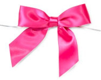 """Hot Pink/Fuschia 3"""" Pre-Tied Satin Bows with 5"""" Twist Ties~ 7/8"""" ribbon- Pack of 6"""