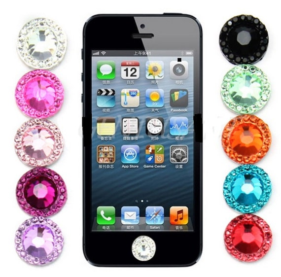 bling rhinestone home button stickers for apple ipod touch