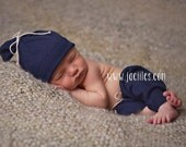 Newborn pant set, newborn boy photo prop, newborn boy pant set, Baby boy photo prop, photo prop, navy blue pant set, newborn boy hat, hat