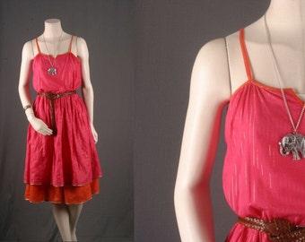 Pink dress cotton orange gypsy boho bohemian hippie women M medium