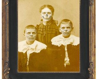 Victorian Zombie Art Print 8 x 10 - Altered Art Ghoul Monster Children - Goth Horror Halloween - Skeleton Skull Faces