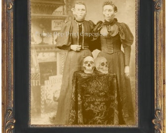 Victorian Skeleton Sisters Art Print 8 x 10 - Skull Face Zombie Sisters with Skulls - Macabre Altered Art Horror Goth - Surreal