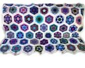 Crochet afghan crochet blanket handmade blanket kaleidoscope hexagons,  variation 2 with cream border  MADE TO ORDER