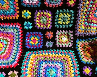 Crochet afghan kaleidoscope rainbow granny squares, groovy hippie funky, READY TO SHIP