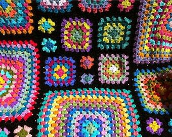 Crochet afghan kaleidoscope rainbow granny squares, groovy hippie funky, READY TO SHIP
