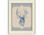 Deer Head Silhouette Art Printable. Rustic, Hunting Wall Art. Gift for husband, son, dad, grandfather, hunter.