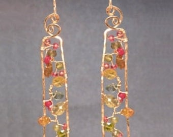 Branch earrings with ruby, peridot, prehnite, and green garnet Bohemian 93