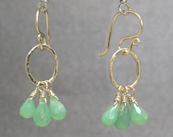 Petite hammered earrings with chrysoprase Victorian 118