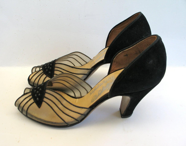 1940s Shoes Vintage Evening Pumps