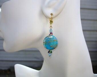 Blue earrings aqua earrings turquoise blue earrings