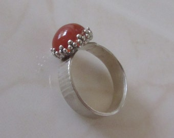SALE 20% OFF - Red Agate ring - Sterling Silver stone Ring -  Made to order - Size 7