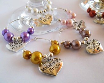 Wedding Wine Charms, Wedding Favours, Wedding Table Decor, Wedding Wine Glass Charms UK,  Wedding Charms, Champagne Glass Decorations