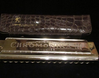Vintage 1960s M. Hohner Chromonika III Chromonica 64 Model 280 Harmonica w/Original Case Germany Very Good to Excellent Condition VERY Rare