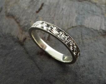 Custom Hand Engraved Sterling Silver Ring