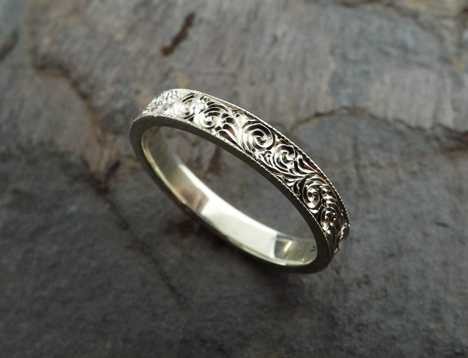 custom hand engraved sterling silver ring. Black Bedroom Furniture Sets. Home Design Ideas