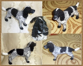 Needle Felted Custom Sculpture 3d Portrait Spaniel Dog Breed 8 inches