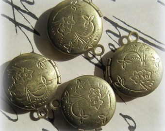 Vintage, Brass, Tiny, High Quality, 16mm, Round, Etched, Floral, Brass, Baby, 2 Photo, Hinged, Locket,