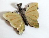 Antique Mother of Pearl Marcasite Sterling Silver Butterfly Pendant