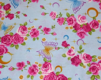 Hot Pink Roses and Butterflies Japanese Cotton Fabric, Flower Fabric, Blue Cotton Fabric, Roses fabric, Butterfly Fabric, Hot Pink Fabric