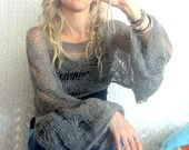 Cropped Sweater, Cropped Shrug, Loose Knit Mohair Shrug, Boho Fashion