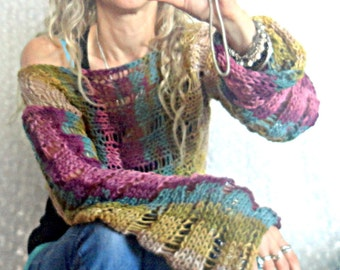 Cropped Top Women's Sweaters Short Blouse with Long Sleeves Knit Blouse Purple Moss Green Beige Teal