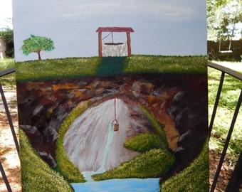 "16x20 ""Beneath the Surface"" Wishing Well  Original Painting"