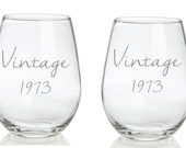 Etched Vintage Glass  with Birth Year Funny Choose From Stemless WIne, Wine, Coffee, Rocks, Pub FREE Personalization