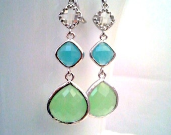 Mint Green Drop, Dangle, Earrings, bridesmaid gifts,Wedding jewelry, Gemstone, Summer earrings