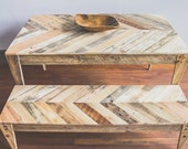 Chevron top reclaimed wood Table and Bench eco pallet wood