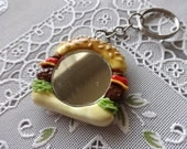 Burger Mirror Keychain Polymer clay Made to Order