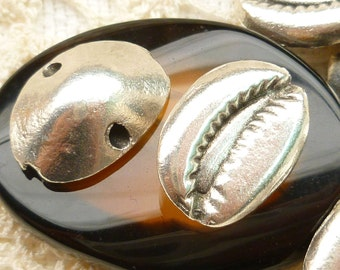 Pewter 3D Cowry Shell Casting Pendant Charm, Mykonos Casting Beads (2) - M22