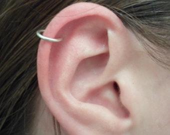 ARGENTIUM Less-Tarnishing Hoop Earrings 16 GAUGE, PAIR Cartilage Tragus Helix Eyebrow Nose Ring   Catchless Seamless Little Sleeper