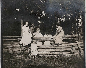 Old Photo Women and Girl on Wood Fence 1910s Photograph snapshot vintage