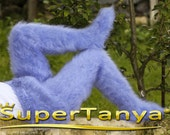 Made to order hand knit fuzzy mohair tights / pantyhose, fluffy trousers in light blue by SuperTanya