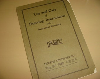 Vintage 1925 Dietzgen Use Care Drawing Instruments Instructive Exercise Architectural Book Architects