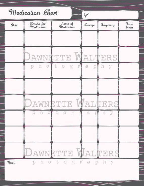 Clean image with medication charting printable