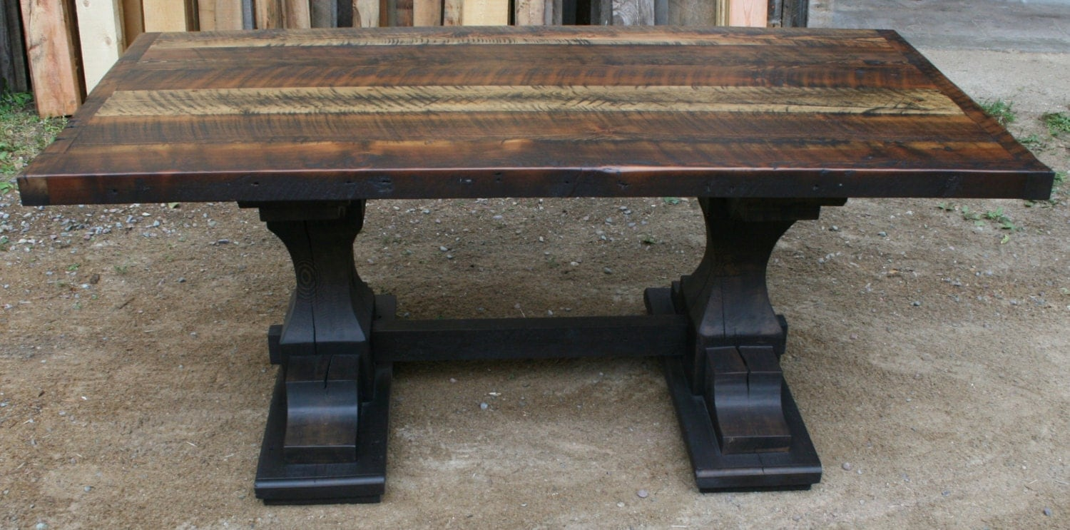Reclaimed pedestal trestle dining table by echopeakdesign for Pedestal trestle dining table plans