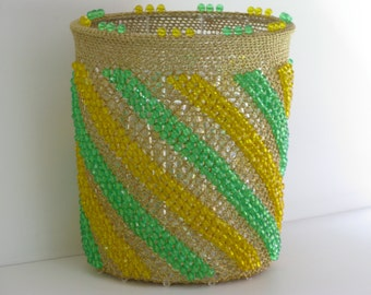 Vintage WASTE BASKET/Gold Meshed Basket /ACRYLIC Beaded Basket/Clear Acrylic Liner/Rad Design Baskets/Vanity Waste Basket/Beaded Baskets
