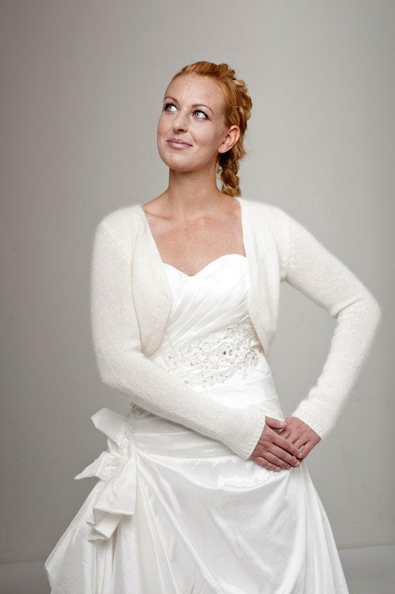 Wedding Bolero Cardigan with ribbon knitted of soft wool perfect for your bridal dress also in another colour