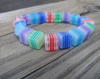 JEWELRY SALE- Children's Bracelet- Striped Rainbow Cube Beads