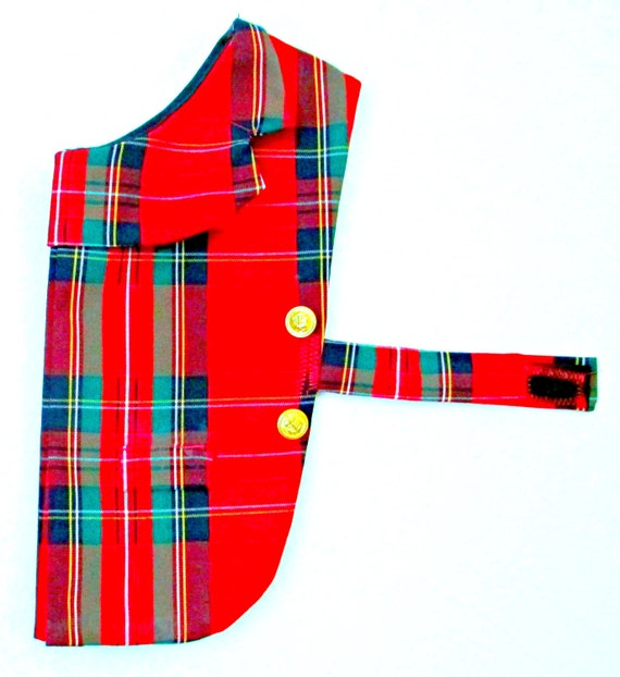 Small Dog Coat Crimson Plaid Styled Just Like a Man's Blazer -  Made to Order, I Will Sew It to Fit Your Toy or Teacup, Yorkie Ahih Tzu