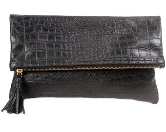 Crocodile-Embossed Fold-Over Clutch, Black Crocodile Clutch, Leather Crocodile embossed clutch, Crocodile black