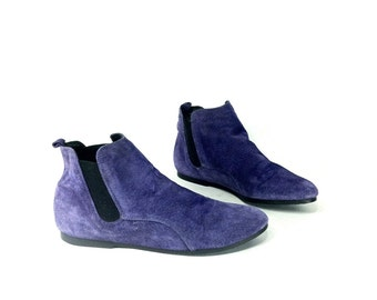 REDUCED~ Purple Leather Chelsea Ankle Booties 6 - Slip On Flat Ankle Booties 6 - Chelsea Booties 6