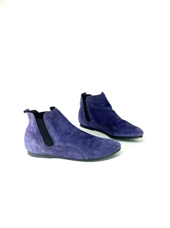 purple leather chelsea ankle boots 6 slip on flat ankle