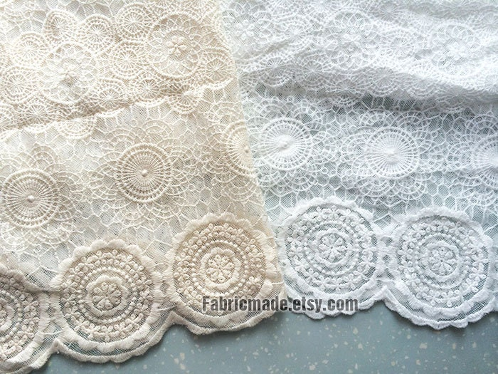 Japanese Ivory Cream White Lace Fabric Vintage Style Circle Lace Tulle Embroidered Lace Bridal Lace Fabric Curtain Scarf Fabric- 1/2 yard