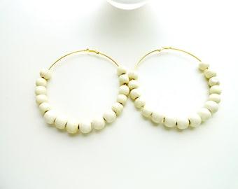 Cream Wood Bead Hoop Earrings